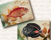 Ocean Atc Aceo Tags, Digital Collage Sheet, Download and Print Jpeg Images