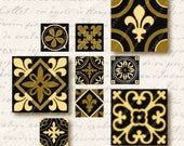 Florence 1 inch Square Tiles, Digital Collage Sheet, Download and Print Jpeg Images