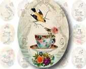 Tea Time 30x40mm Ovals for Pendants, Digital Collage Sheet, Download and Print Jpeg Images