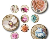 Vintage Flowers 1 inch Circles, Digital Collage Sheet, Download and Print Jpeg Clip Art Images
