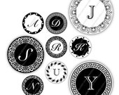 Letters 1 inch Circles for Pendants, Digital Collage Sheet, Download and Print Jpeg Images