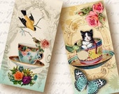 Tea Party 1x2 inch Domino Tiles, Digital Collage Sheet, Download and Print Jpeg Images
