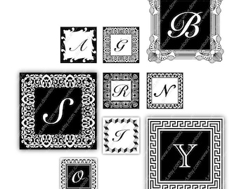 LETTERS, 1 inch Square Tiles, Digital Collage Sheet, Download and Print JPEG Images