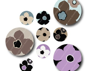 Floral, 1 Inch Circles, Digital Collage Sheet, Download and Print Jpeg Images