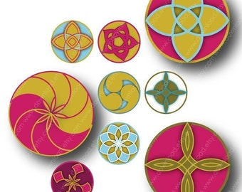 Oriental Ornaments,1 inch Circles, Digital Collage Sheet, Download and Print JPEG Images