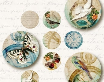 Time Flies 1 inch Circles, Digital Collage Sheet, Download and Print Jpeg Clip Art Images