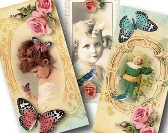 Adorable, 1x2 inch Domino Tiles, Digital Collage Sheet, Download and Print Jpeg Images