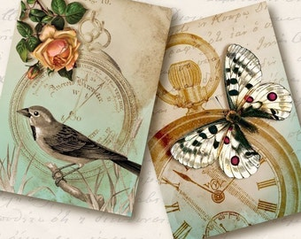 Time Flies Atc Aceo Tags, Digital Collage Sheet, Download and Print Jpeg Images