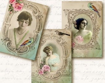 Ladies Atc Aceo Tags, Digital Collage Sheet, Download and Print Jpeg Images