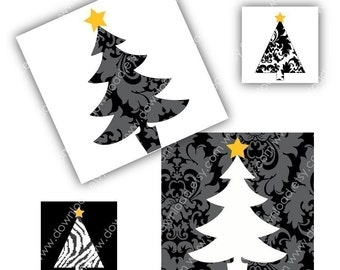 Black Damask Christmas, 1 inch Square Tiles, Digital Collage Sheet, Download and Print Jpeg Clip Art Images