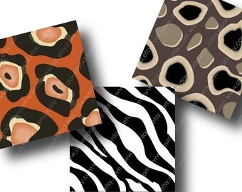 Animal Prints, 1 Inch Square Tiles, Digital Collage Sheet, Download and Print JPEG Clip Art Images