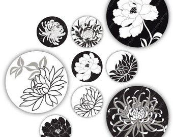 Black Peony 1 inch Circles, Digital Collage Sheet, Download and Print Jpeg Images
