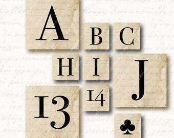 Elegant Alphabet 1 inch Square Tiles, Digital Collage Sheet, Download and Print Jpeg Images