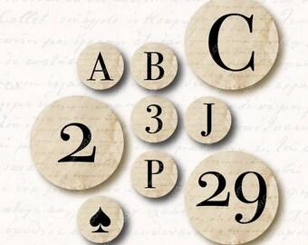 Elegant Alphabet 1 inch Circles, Digital Collage Sheet, Download and Print Jpeg Images