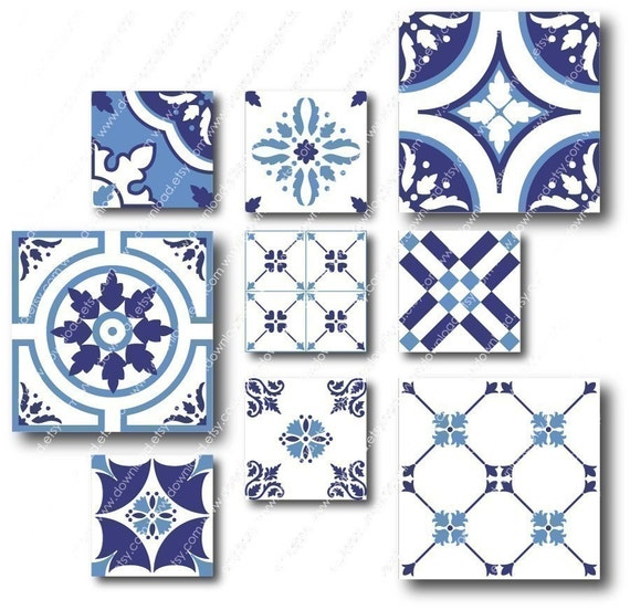 Azulejos - 2 inch and 1 inch Combo Square Tiles, Digital Collage Sheet, Download and Print Jpeg Clip Art Images
