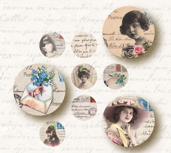 Postcards 1 inch Circles, Digital Collage Sheet, Download and Print Jpeg Images