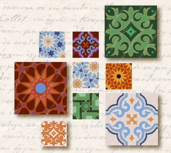 Moroccan 1 inch Square Tiles, Digital Collage Sheet, Download and Print Jpeg Clip Art Images