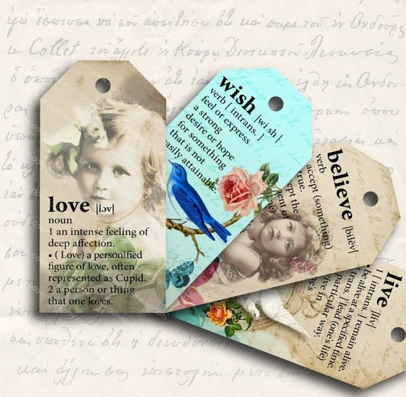 Definition Printable Gift Tags, Digital Collage Sheet, Download and Print Jpeg Images