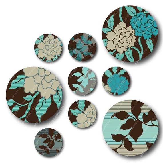 HOLIDAY SALE, Emerald Garden 2x2 inch Circles, Digital Collage Sheet, Download and Print Images
