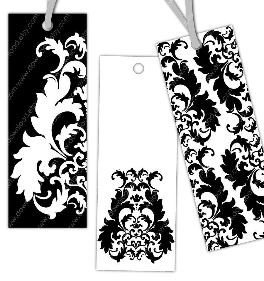 This is an image of Gorgeous Printable Bookmarks Black and White