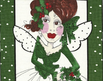 Loralie Christmas Holiday Fairy Fairies quilt fabric one block