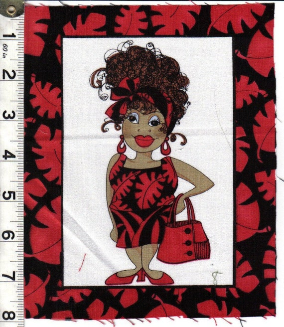 Loralie Stylish Shopping Lady quilt fabric ONE block Beauty Salon