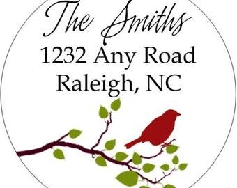 Bird on a Branch Return Address Label Sticker (Set of 24)