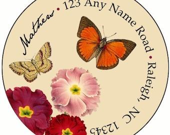 Vintage Butterflies Return Address Labels or Stickers (Set of 24)