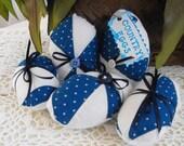 Blue Vintage Quilt Country Cottage Eggs Basket Bowl Fillers