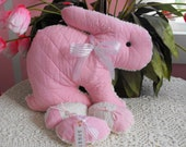 Pink Chenille And Vintage / Antique Quilt Bunny Rabbit Pillow With Easter Eggs
