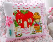 Vintage Strawberry Shortcake And Vintage Chenille Patchwork Pillow