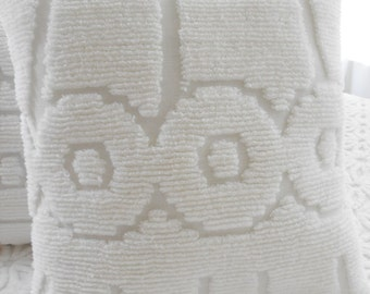 Fluffy White Vintage Chenille Pillow