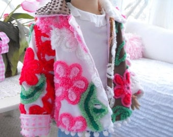 PP Vintage Chenille Patchwork Jacket Toddler Size 2t 3t Pink Red And Brown