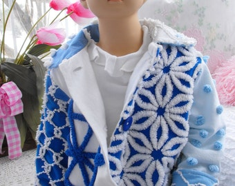 PP Vintage Chenille Patchwork Navy Sailor Jacket Toddler Size 2t 3t