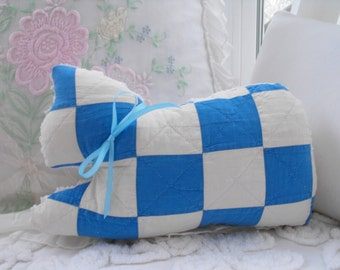 Vintage Chenille And Vintage Quilt Kitty Cat Pillow With Bow
