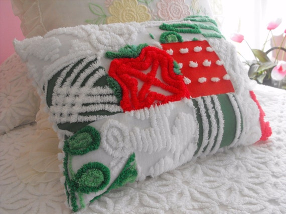 Christmas in July... Vintage Chenille Patchwork Pillow