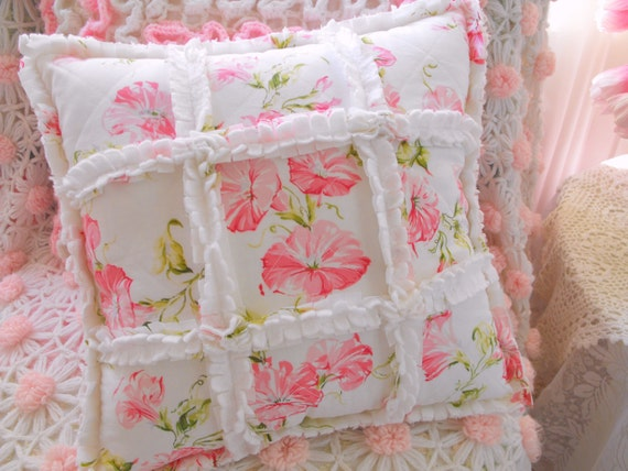Pink Shabby Cottage Morning Glory Sheet Fabric And Chenille Rag Style Pillow
