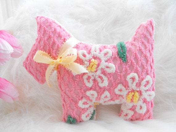 ADORABLE PINK Vintage Chenille Scottie Westie Dog Pillow With Bow
