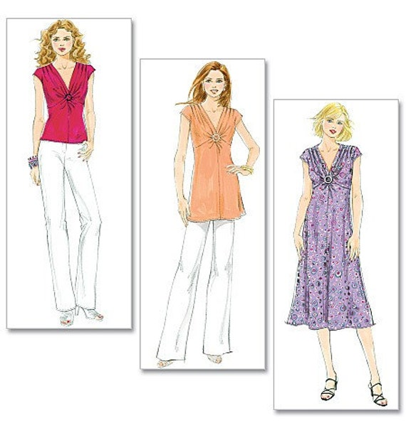 Ladies VERY EASY V-Neck Shirt, Tunic and Dress Pattern - Butterick 5484