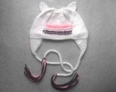 Embroidered Kitty 'Chullo' Ear Flap Cap