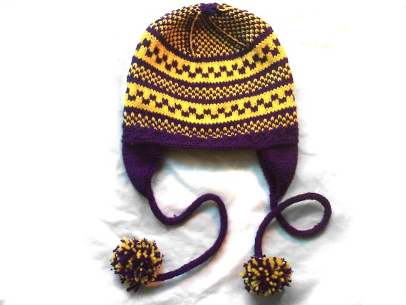 Purple and Yellow Checkered 'Chullo' Ear Flap Cap