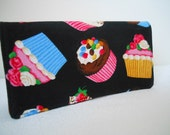 SALE fabric Checkbook Cover - Chocolate Brown Cupcakes