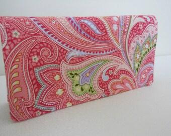 Handmade Fabric Checkbook Cove- Paisley Pink