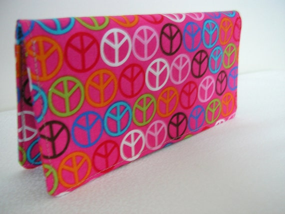 Handmade Fabric Checkbook Cover - Peace Signs On Pink