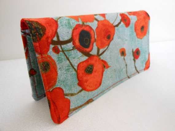 Fabric Checkbook Cover - Large Poppies in Teal