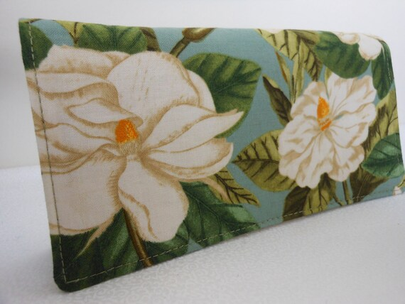 Handmade Fabric Checkbook Cover - Windham Williamsburg Botanicals Magnolia