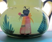 HB Quimper France French Faience Soleil Sunny Yellow Cookie Jar Vase Pottery Peasant Lady