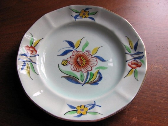 Antique Adams Calyx Ware Plate Hand Painted Cambodia Floral