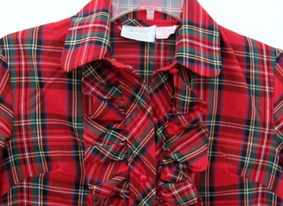 Vintage Red Scotch Plaid Ruffle Shirtdress Dress