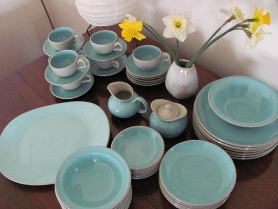 Harker Harkerware Stone Ware Blue Mist Dinnerware Set